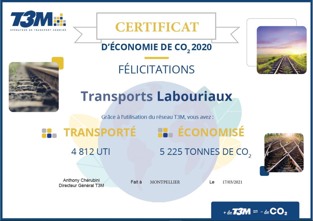Certificat d'économie de CO2 2020
