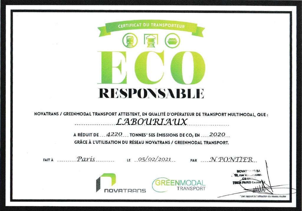 Certificat éco-responsable 2020